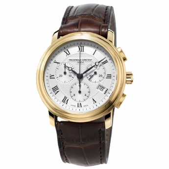 Frederique Constant Gents Yellow Vermeil Chronograph with Leather Strap Watch FC-292MC4P5