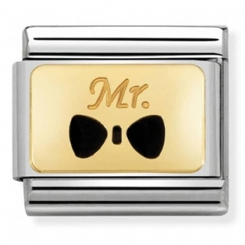 Nomination Gold and Stainless Steel 'Mr' Bow Tie Charm