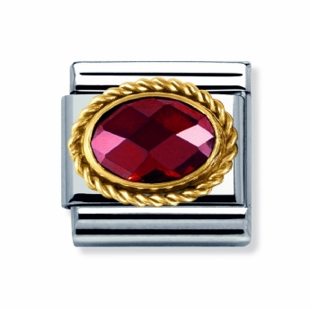 Nomination Gold and Stainless Steel Red Oval Crystal with Twisted Edge Charm