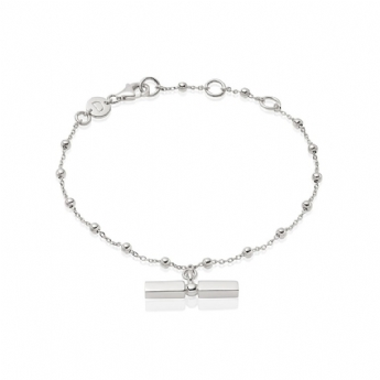Daisy London Silver Stacked T-Bar Bracelet