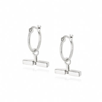 Daisy London Silver Stacked T-Bar Drop Hoops