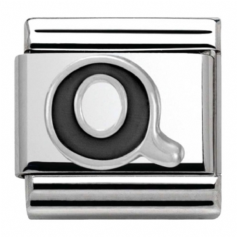Nomination Black and Silver Initial Q