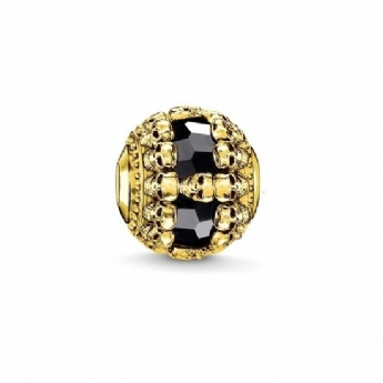 Thomas Sabo Yellow Gold Plated Skulls with Black Onyx Karma Bead