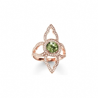 Thomas Sabo Rose Gold Plated Green Spinel and CZ Flower Ring Size 58
