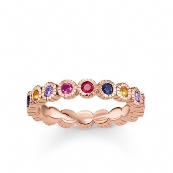 Thomas Sabo Rose Gold Plated Multi Rub Over CZ Eternity Ring Size 56