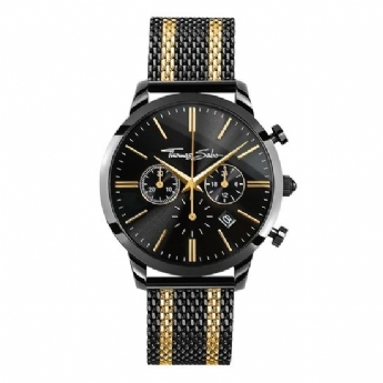 Thomas Sabo Stainless Steel Black and Yellow Plated Stripe Chronograph Bracelet Watch