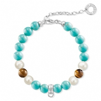 Thomas Sabo Freshwater Cultured Pearl, Tiger's Eye and Simulated Turquoise Bracelet