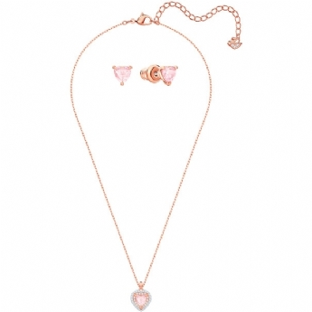 Swarovski Rose Gold Tone Plated Pink Heart Necklace and Earring Set