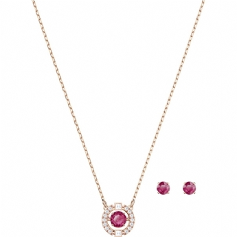 Swarovski Rose Gold Tone Plated Sparkling Red Dancing Pendant and Earring Set
