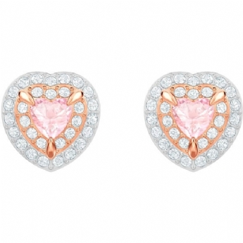 Swarovski Rose Gold Tone Plated One Pink and White Crystal Heart Earrings