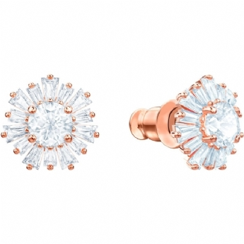 Swarovski Rose Gold Tone Plated White Crystal Sunshine Studs