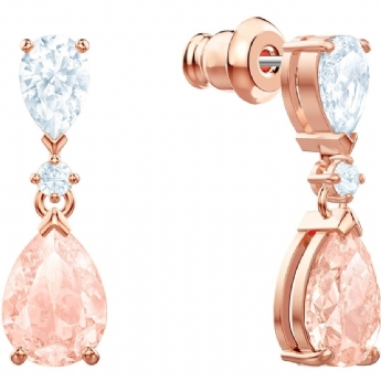 Swarovski Rose-Gold Tone Plated Vintage Pear Shape Crystal Drop Earrings
