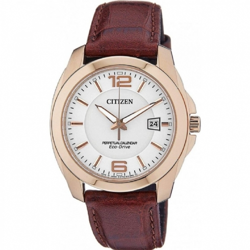 Citizen Eco Drive Rose Gold Plated Gents Leather Strap Watch