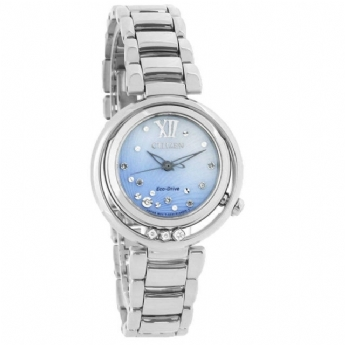 Citizen Eco-Drive Ladies Stainless Steel 10x Diamond Sunrise Bracelet Watch