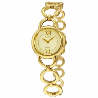 Citizen Eco Drive Yellow Gold Plated Ladies Open Circle Link Bracelet Watch