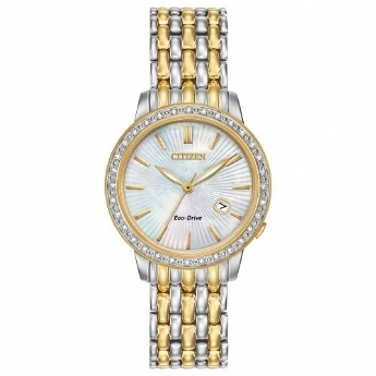 Citizen Eco Drive Ladies Yellow Gold Plated and Stainless Steel Diamond Case Watch