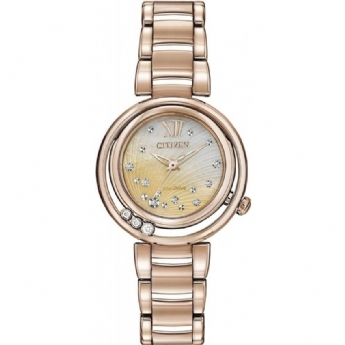 Citizen Eco Drive Rose Gold Plated Diamond Sunrise Watch
