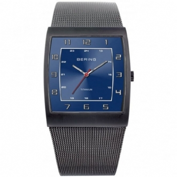 Bering Gents Square Watch with Blue Dial on a Mesh Bracelet 11233.078