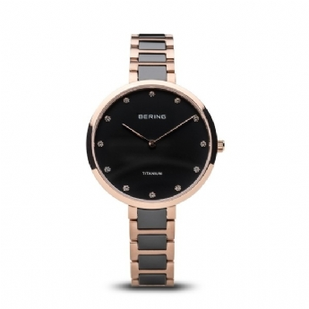 Bering Ladies Black Ceramic and Rose Plated Titanium Watch with Crystal Dial 11334.762