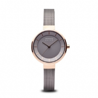 Bering Ladies Grey Stainless Steel and Rose Gold Plated Solar Powered Mesh Bracelet Watch 14631-369