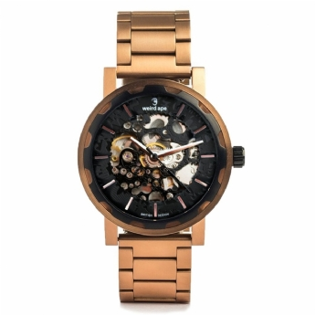 Weird Ape Kolt Automatic Black Watch with Rose Plated Stainless Steel Link Bracelet WA02-005521