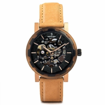 Weird Ape Kolt Automatic Rose Plated Case with Tan Suede Strap WA02-005540