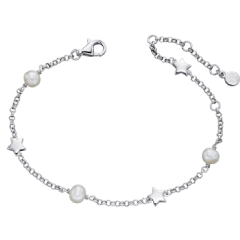 Little Star Anja Pearl and Silver Star Bracelet LSB0038