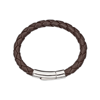 Little Star Andre Boy's Brown Leather Bracelet with Steel Clasp LSB0087