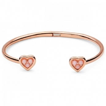 Links of London Open Heart Rose Gold Plated Pink Opal Cuff Bangle 5010.4240
