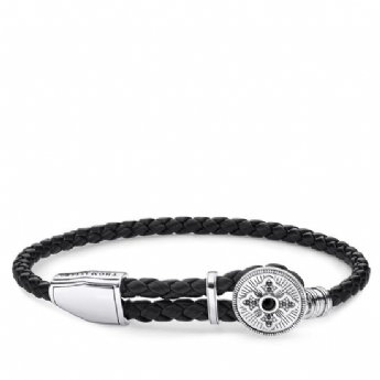 Thomas Sabo Leather Cross Adjustable Bracelet A1861-949-11