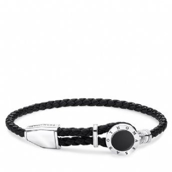 Thomas Sabo Leather Black Disc Adjustable Bracelet A1864-982-11