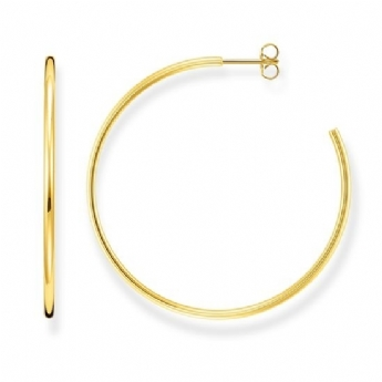 Thomas Sabo Classic Medium Sterling Silver with Yellow Gold Plating Hoop Earrings CR641-413