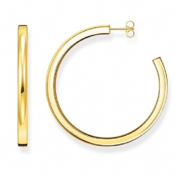 Thomas Sabo Classic Large Square Profile Sterling Silver with Yellow Gold Plating Hoop Earrings CR644-413