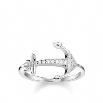 Thomas Sabo CZ Sterling Silver Anchor Ring - Size 54  TR2234-051