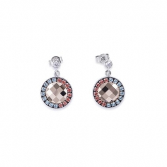 Coeur De Lion Blue and Red Drop Earrings with Crystal Pendants 4954/21-2003