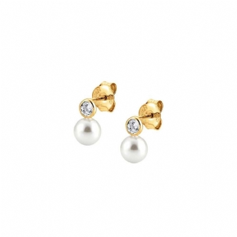 Nomination Bella Yellow Plated Pearl Drops with Crystal Earrings 142662/012