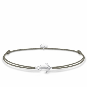 Thomas Sabo Grey Nylon Adjustable Sterling Silver and Cubic Zirconia Anchor Anklet LSAK005