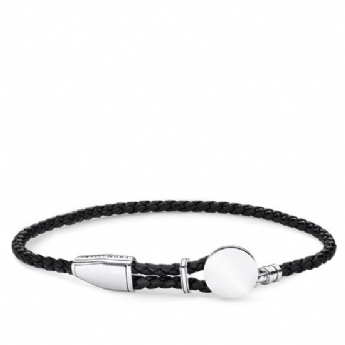 Thomas Sabo Leather Black Disc Adjustable Bracelet A1863-682-11