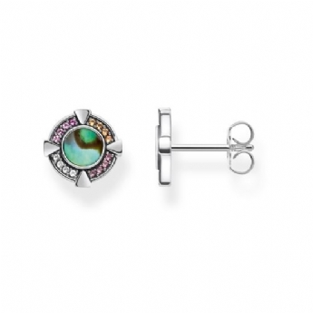 Thomas Sabo Abalone Mother of Pearl and Crystal Stud Earrings H2035-294