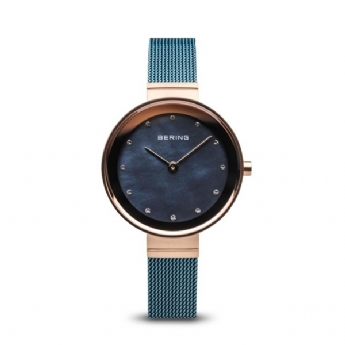 Bering Ladies Blue Mesh Bracelet with Rose Vermeil Case and Blue Mother of Pearl Dial 10128-368