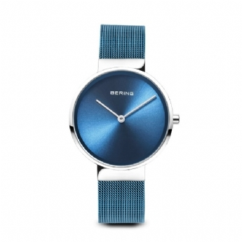 Bering Ladies Blue Mesh Bracelet with Stainless Steel Case and Metallic Blue Dial 14531-308