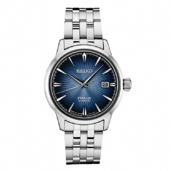 Seiko Presage 'Cocktail' Automatic Stainless Steel Day/Date Blue Dial Watch SRPB41