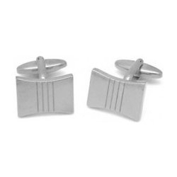 Jos Von Arx Stainless Steel Rectangle with Stripes Cufflinks CL08S