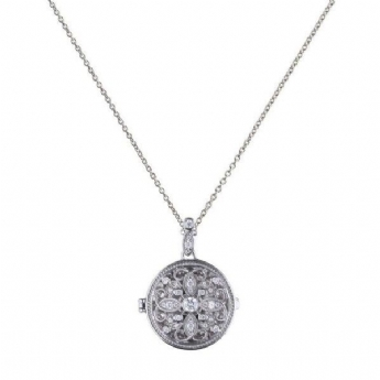 Diamonfire Silver Round Filigree Locket and Chain P4613