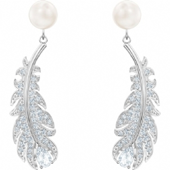 Swarovski Naughty and Nice Collection 'Nice' Feather Drop Earrings 5496052