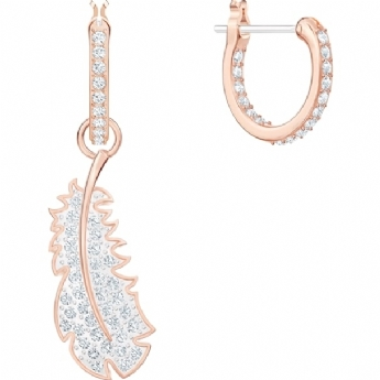 Swarovski Naughty and Nice Collection 'Nice' Mix and Match Feather Drop to Hoop Earrings 5497872