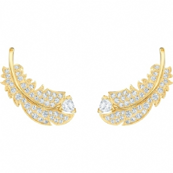 Swarovski Naughty and Nice Collection 'Nice' Yellow-Gold Tone Plated Feather Stud Earrings 5505623