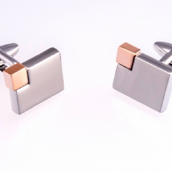 Jos Von Arx Stainless Steel Cufflinks with Rose-Gold Tone Plated Corner CL76S-RG