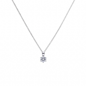 Diamonfire Silver 6 Claw 1ct Cubic Zirconia Pendant and Chain P4608