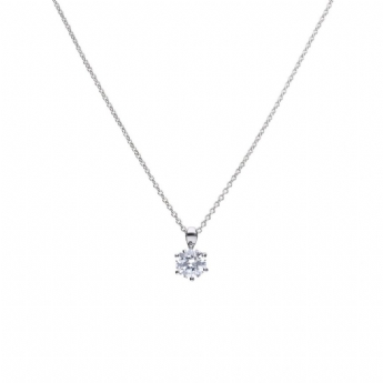 Diamonfire Silver 6 Claw 2ct Cubic Zirconia Pendant and Chain P4605